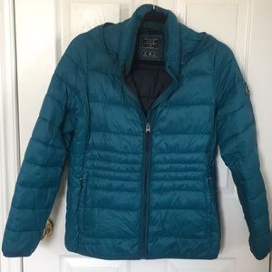ABERCROMBIE & FITCH TEAL PUFFER JACKET